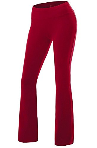 Sorrica Womens Casual Cotton High Waist Boot-Leg Everyday Yoga Pants (XXL, Wine Red)