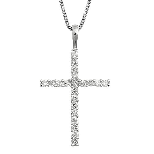 14k White Gold Cross Diamond Pendant Necklace (GH, I1-I2, 0.25 carat) [Jewelry]