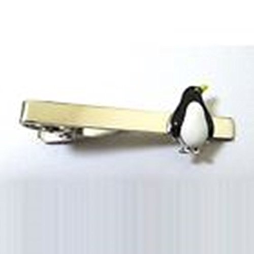 Baby Penguin Costume Uk (Mondaily - Penguin Animal Black White Winter Tie Clip Silver Black Wedding Bar Clasp #PPTE5060)