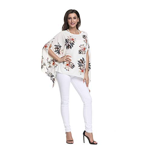 PAQOZ Womens Floral Print Batwing Sleeve Chiffon Poncho Vacation Sun Protection Tunic Tops(White,Free Size)