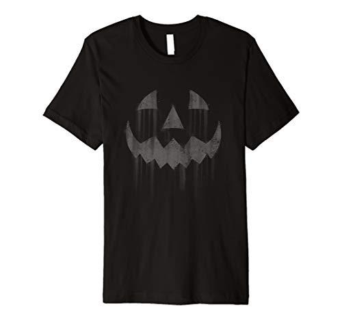 Scary Jack O'Lantern Halloween Horror Pumpkin Face Grey  Premium T-Shirt