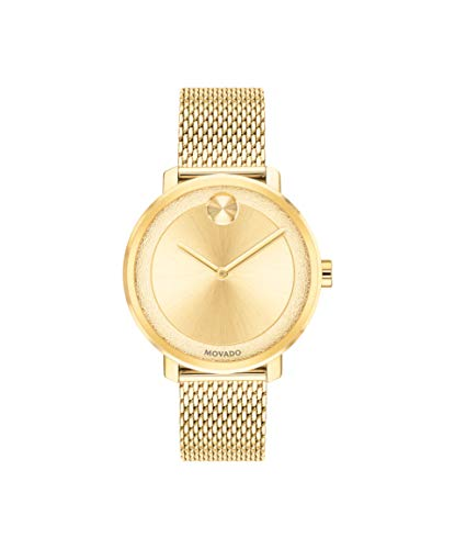 Yellow Plated Stainless Steel Bracelet - Movado Bold, Yellow Gold Ion-Plated Stainless Steel Case, Gold Dial, Yellow Gold Ion-Plated Stainless Steel Mesh Bracelet, Women, 3600580