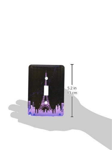 Single Toggle Switch 3dRose lsp/_158705/_1 The Eiffel Tower In Pink with A City Skyline And Bubbles