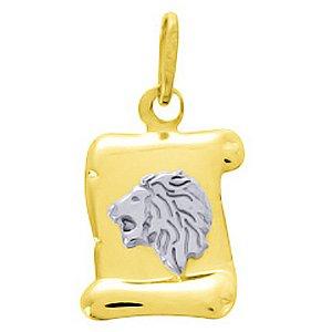 So Chic Bijoux © Pendentif Zodiaque Parchemin Bicolore Signe Astrologique Lion Or Jaune & Blanc 750/000 (18 carats)