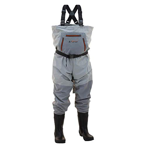 Frogg Toggs Hellbender Breathable Bootfoot Chest Wader, Cleated Outsole, Slate Gray, Size - 3 Wader Chest Ply