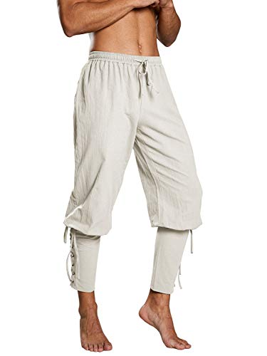 Enjoybuy Mens Renaissance Medieval Pants Steampunk Pirate Navigator Trousers Costume Cosplay Pants White