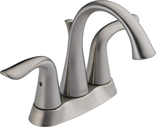 Delta Lavatory Faucet Low Lead Two Handle H Arc Spout Lahara Series 1.5 Gpm 4 Centers Stainless Stee
