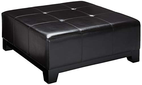 Great Deal Furniture 298532 Avalon Espresso Brown Leather Ottoman Coffee Table,