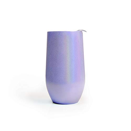 Stemless Wine Tumbler with Travel Lid by Big Betty - Stainless Steel, Double Wall, Anti-Spill Rubber Gasket, Sweat Proof, BPA Free Sip Lid - 16 oz - Pearlescent Lavender