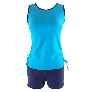 De las mujeres Tankini-Cintura Alta Monocolor Con LazoBandeau-Poliéster Blue