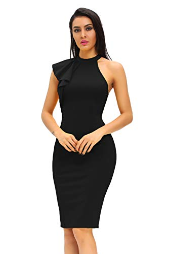 - Shopall Women's Fashion Ruffle Sleeve One Shoulder High Neck Midi Bodycon Party Dress (Black, Large)