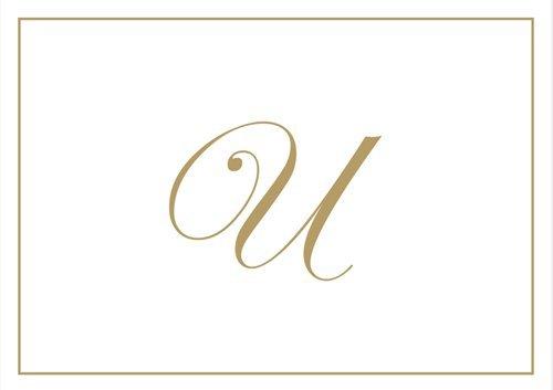 Caspari 83632.U Box mit Notizzettel mit Prägung des Initialen U, Gold