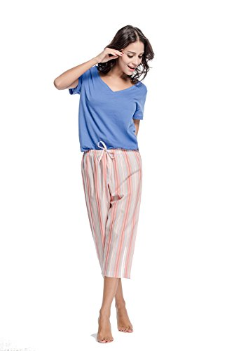 CYZ Women's 100% Cotton Woven Pajama Capri-BlueStripe-M