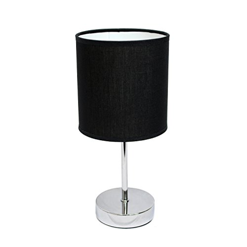 Simple Designs Home LT2007-BLK Chrome Mini Basic Table Lamp with Fabric Shade, 5.7