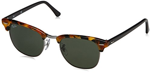 Ray-Ban CLUBMASTER - SPOTTED BLACK HAVANA Frame GREEN Lenses 49mm - Ray Ban Sunglasses 3016