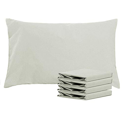NTBAY Queen Pillowcases Set of 4, 100% Brushed Microfiber, Soft and Cozy, Wrinkle, Fade, Stain Resistant, Queen, Light Grey