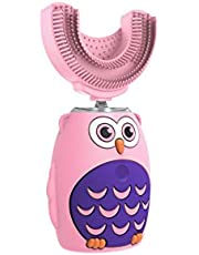Kids Electric Toothbrush, Children's Ultra Sonic Toothbrush with U-Shaped Brush Head, Smart Timer, IPX7 Waterproof, Cartoon Modeling, Special Design for Toddlers, Ages 2-6