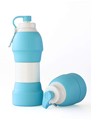 LEWONDE Collapsible Water Bottle - BPA Free 20 OZ Travel Mug - Cool Gear for Hiking Camping Cycling Sport (Sky Blue)