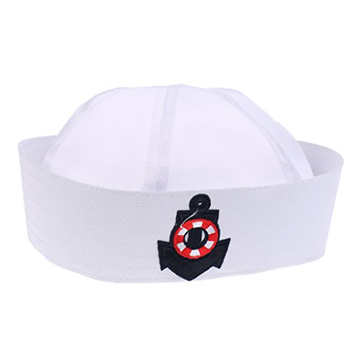 Jili Online 1 PCS White Sailor Captain Hat White US Navy Cap for Men Women Girls Boys - Navy Ring, Adult ()