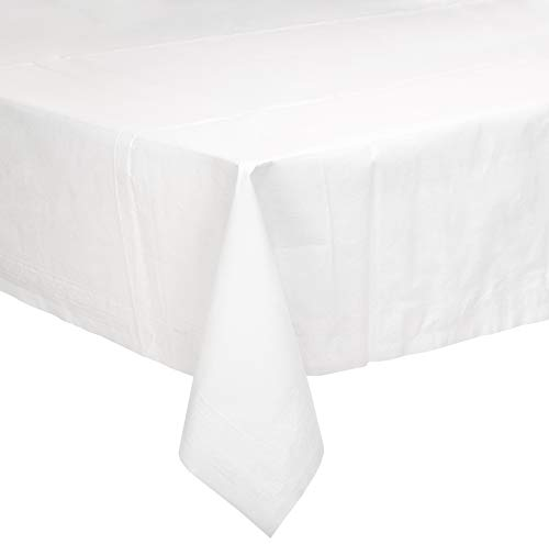 "AmazonBasics Poly-Lined Paper Tablecloth, 54"" x 108"", White, 25-Count"