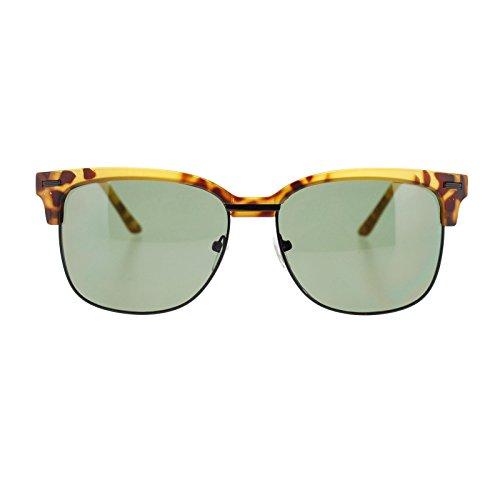 Retro Mens Half Horn Rim Clubmaster horned Sunglasses Matte Tortoise - Matte Clubmaster Tortoise