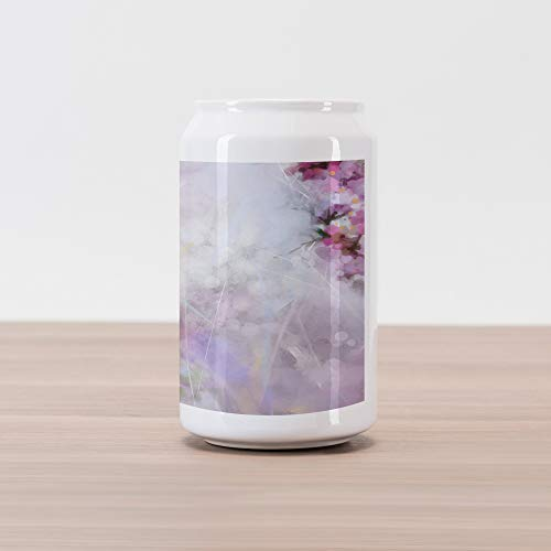 (Lunarable Flower Cola Can Shape Piggy Bank, Roman Hyacinth Petals and The Apricot Blooms in Grunge Colors Work of Art Print, Ceramic Cola Shaped Coin Box Money Bank for Cash Saving, Lilac White)