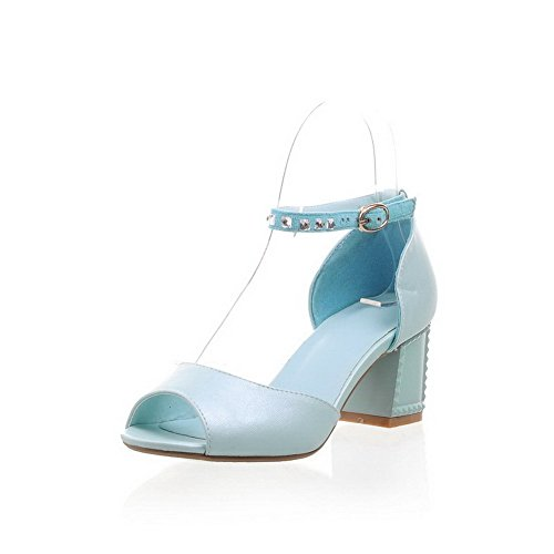 Amoonyfashion Femmes Boucle Kitten-talons Pu Solide Peep-toe Sandales Bleu