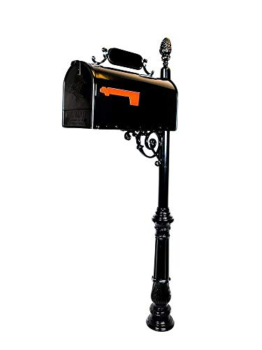 - Addresses of Distinction Charleston Large Mailbox & Post System – Black Rust Resistant Mailbox – Includes Address Plaque, Numbers, Scroll & Mounting Hardware – Metal Mailbox with Pineapple Finial