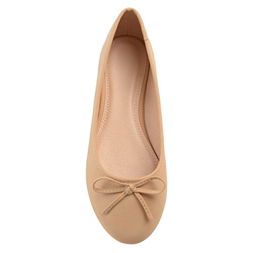 Brinley Co Mujeres Corky Bow Detail Ancho Ancho Ballet Flats Nude