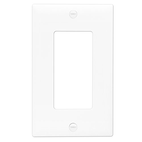 Decorator Light Switch GFCI Rocker Wall Plate, Standard Size 1-Gang, White