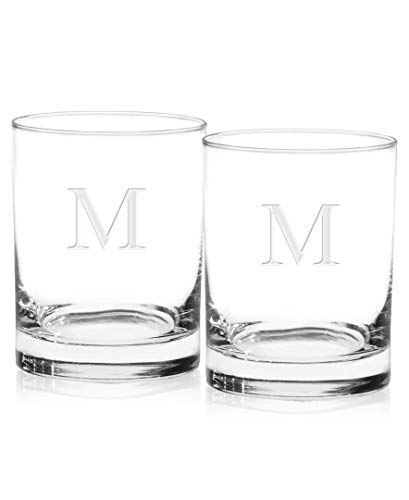 Culver 018M-65E-2 Deep Etched DOF Double Old Fashioned Glass, 14-Ounce, Monogrammed Letter-M, Set of 2