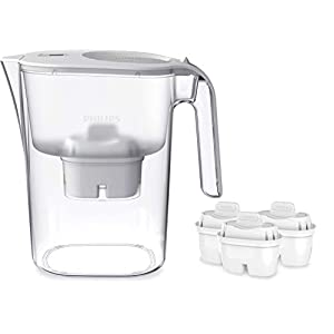 Philips AWP2936 Carafe filtre à eau avec 3 cartouches Micro X Clean, Réduit le calcaire, le chlore et les…