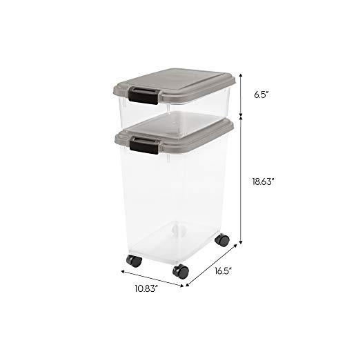 IRIS USA 3-Piece Airtight Pet Food Storage Container Combo, Dark Gray