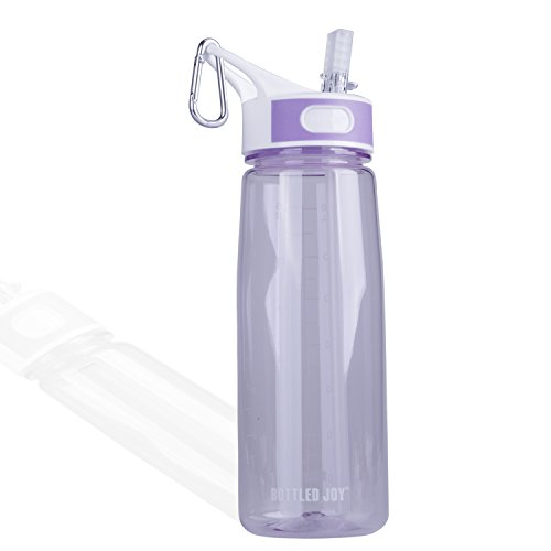 BOTTLED JOY Water Bottle, Reusable Sports Water Bottle with Straw and Handle BPA-Free Leak Proof Drinking Bottle for Travel Outdoor Hiking Camping, 28 oz 800ml (Purple) ()