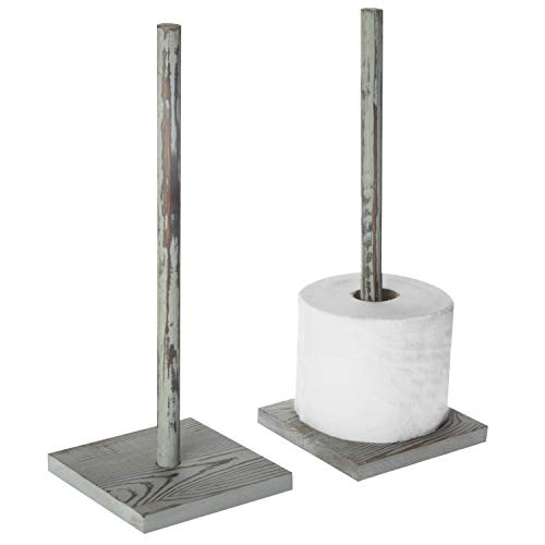 MyGift Rustic Whitewashed Wood Freestanding Toilet Paper Roll Holder, Set of 2 (Seattle Toilet Paper)