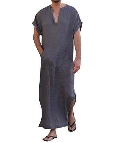 Jacansi Men's Solid Color Oversized Middle Eastern Dubai Indian Arab Thobes Purple XL