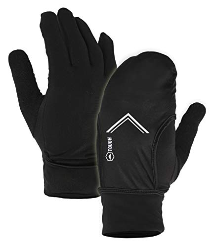 Running Sports Gloves with Convertible Mitten Cover - Touchscreen Compatible - Windproof & Thermal Glove Liners Designed for Cycling, Texting, Driving - 90% Nylon 10% Spandex Blend - Fits Men & Women ()