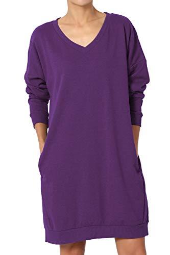 (TheMogan Women's Casual V-Neck Pocket Loose Sweatshirt Tunic Purple S/M)