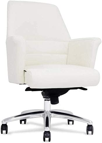 Geffen Genuine Leather Aluminum Base Low Back Executive Chair