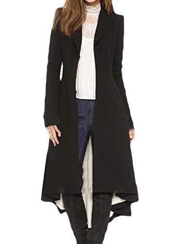 Howme-Women Swallowtail Trench Fit Turn-Down Collar Elegent Wrap Coat Black