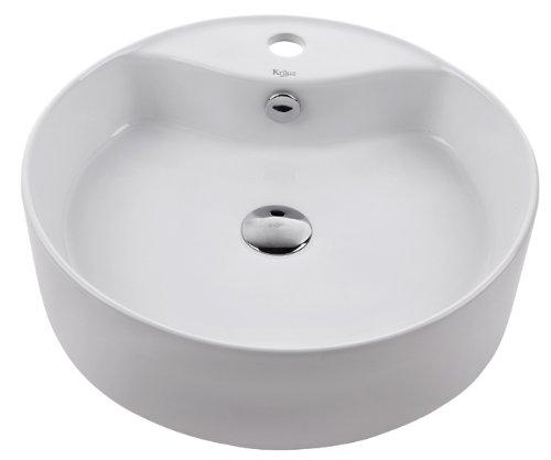 Kraus KCV-142-SN White Round Ceramic Bathroom Sink and Pop Up Drain with Overflow Satin Nickel
