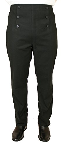 Historical Emporium Men's High Waist Regency Fall Front Trousers 30 Black -