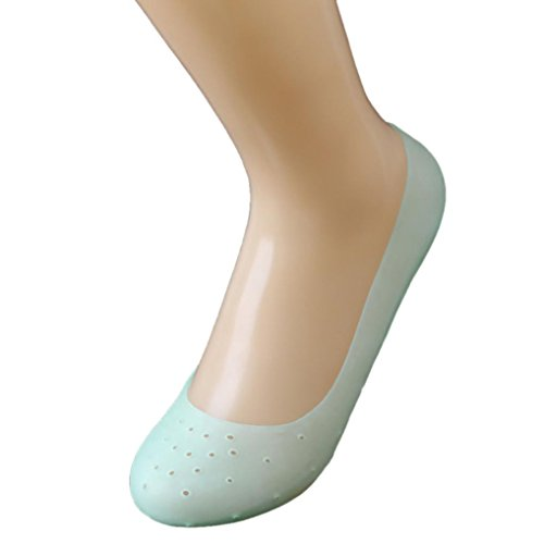 Nylon Wool Heels (KESEELY Heel Nylon Crack Guard Footful Full Length Silicone Gel Moisturizing Socks (M, Green))