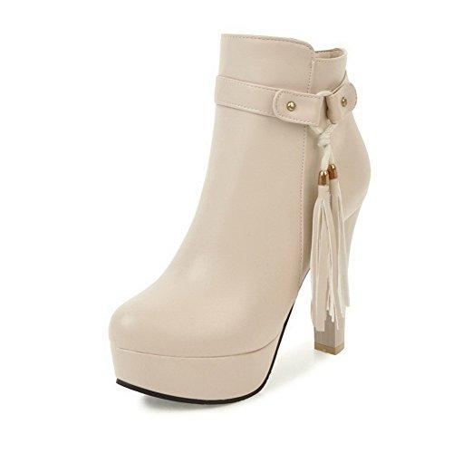 AllhqFashion Damen Hoher Absatz Rein Rund Zehe Ziehen auf Stiefel mit Schnalle, Aprikosen Farbe, 34