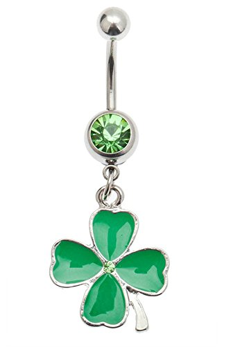 - Silver Colored 316L Surgical Steel 14 Gauge Belly Ring Navel Bellybutton Piercing Bananabell Barbell With Green Crystal And Lucky Clover Shaped Pendant Dangle Charm Decoration