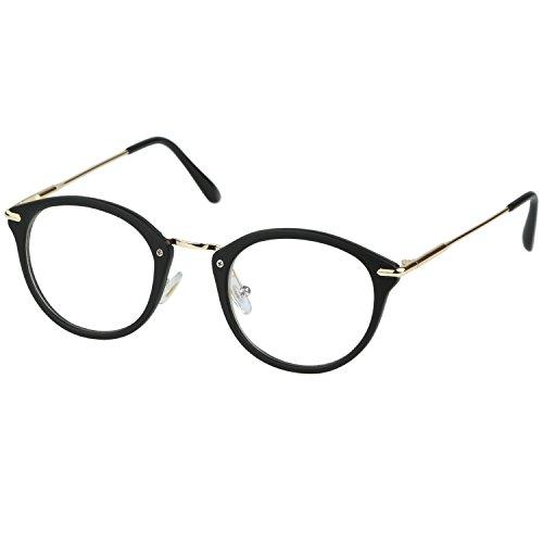 DUCO Vintage Classic Wayfarer Clear Lens Glasses Decorative Spectacles - Spectacles Frame Black