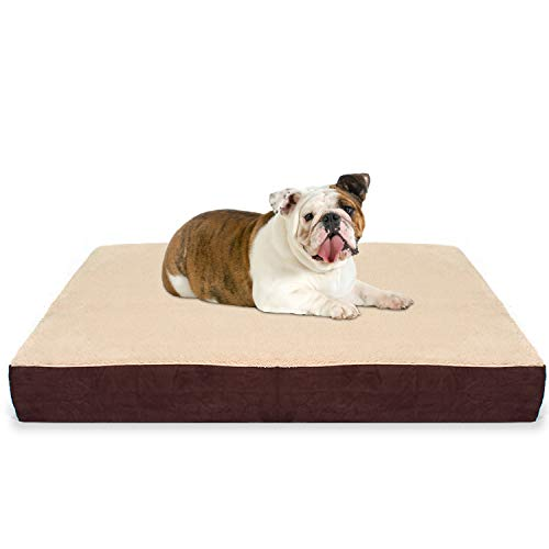 (KOPEKS Large Rectangular Orthopedic Memory Foam Dog Bed - Includes Waterproof Inner Protector & Removable Cover - Brown)