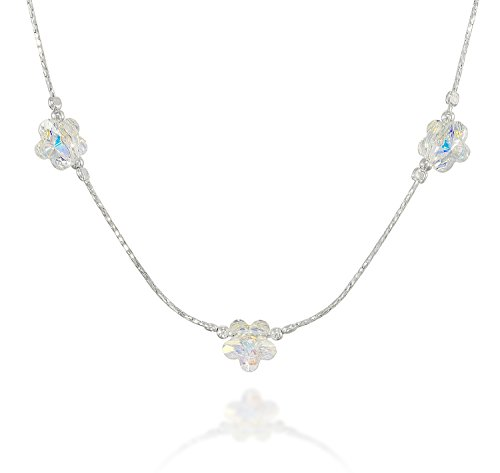 (925 Sterling Silver Choice of Colors Girls Necklace Made with Swarovski Crystal Flowers, 16