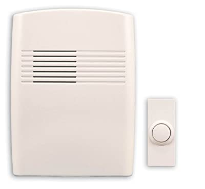 Heath/Zenith SL-7753-02 Wireless Battery-Operated Door Chime with Plastic Chime Cover, Off-White