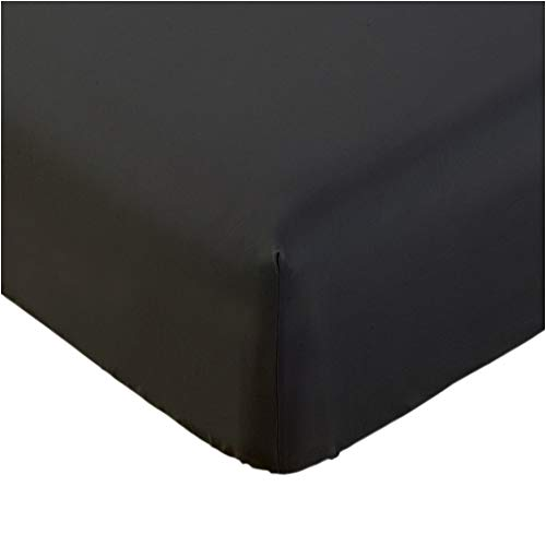 Mellanni Fitted Sheet Queen Black Brushed Microfiber 1800 Bedding - Wrinkle, Fade, Stain Resistant - Hypoallergenic - (Queen, Black)